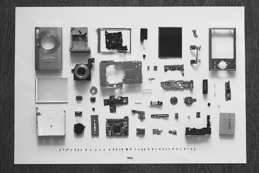Bauteile für eine Kamera